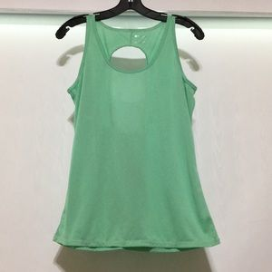 Fabletics Large Green Tank Top Keyhole Back